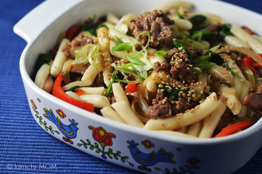 Beef Ddukboki Non Spicy Sauteed Korean Rice Cakes Sundaysupper Kimchi Mom